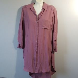BKE Red Mauve Long Sleeve Tunic Top Duster